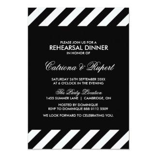 "Black & White Stripes Rehearsal Dinner Invitation 5"" X 7"" Invitation Card"