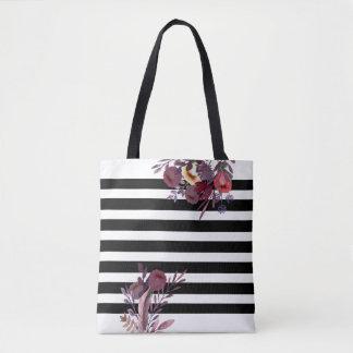 Black/white stripes romantic boho floral tote bag