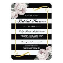 Black White Stripes | Vintage Floral Bridal Shower Invitation