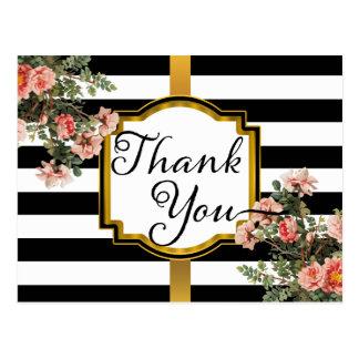 Black | White Stripes Vintage Floral Thank You Postcard