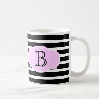 Black & White Stripes w/ Pink, add initial Coffee Mug