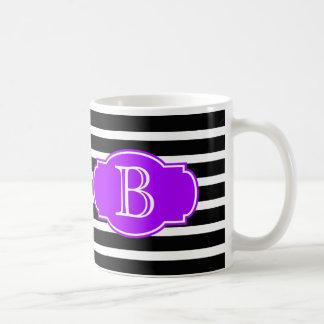 Black & White Stripes w/ Purple, add your initial Coffee Mug
