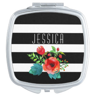 Black & White Stripes Water Color Floral Accent Vanity Mirror