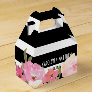 Black White Stripes Watercolor Floral Wedding Favor Box