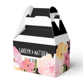 Black White Stripes Watercolor Floral Wedding Favor Box