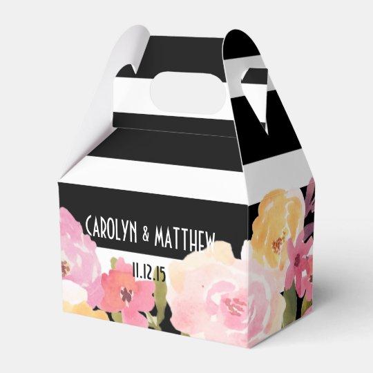 Black White Stripes Watercolor Fl Wedding Favor Box