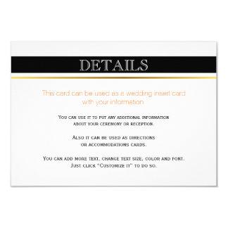 Black white stripes wedding details insert card