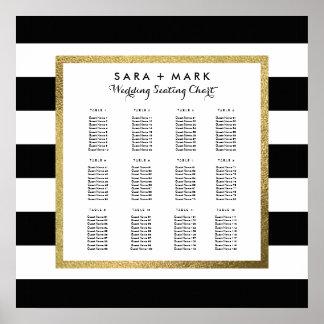 Black & White Stripes Wedding Seating Chart Poster