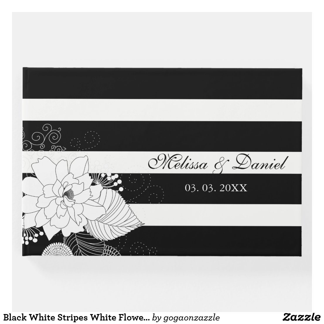 Black White Stripes White Flowers