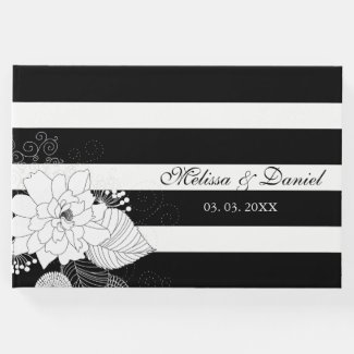 Black White Stripes White Flowers