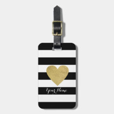 Black & White Stripes With Gold Foil Heart Bag Tag at Zazzle