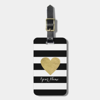 Black & White Stripes with Gold Foil Heart Bag Tag