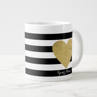 Black & White Stripes with Gold Foil Heart Giant Coffee Mug