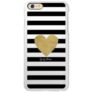 Black & White Stripes with Gold Foil Heart Incipio Feather Shine iPhone 6 Plus Case