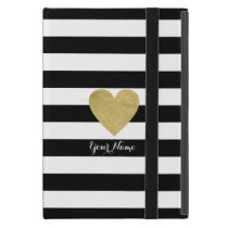 Black & White Stripes with Gold Foil Heart iPad Mini Covers