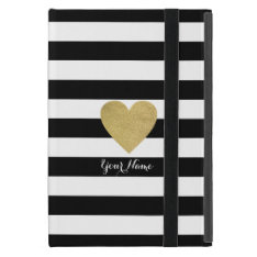 Black & White Stripes with Gold Foil Heart iPad Mini Covers at Zazzle