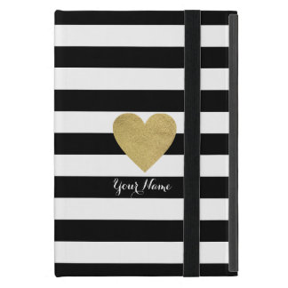 Black & White Stripes with Gold Foil Heart iPad Mini Covers