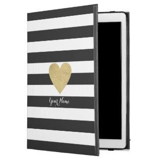 Black & White Stripes with Gold Foil Heart iPad Pro Case