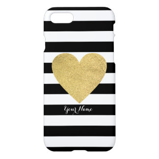 Black & White Stripes with Gold Foil Heart iPhone 7 Case