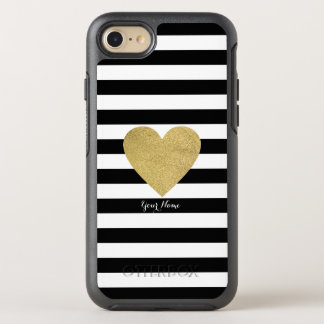 Black & White Stripes with Gold Foil Heart OtterBox Symmetry iPhone 7 Case