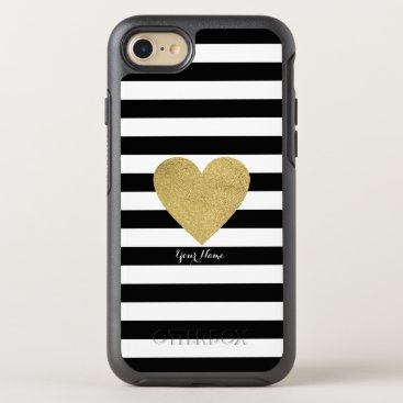 Valentines Themed Black & White Stripes with Gold Foil Heart OtterBox Symmetry iPhone 8/7 Case
