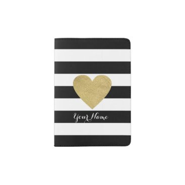 StripyStripes Black & White Stripes with Gold Foil Heart Passport Holder
