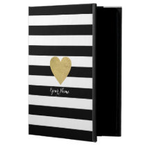 Black & White Stripes with Gold Foil Heart Powis iPad Air 2 Case