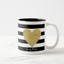 Black & White Stripes with Gold Foil Heart Two-Tone Coffee Mug