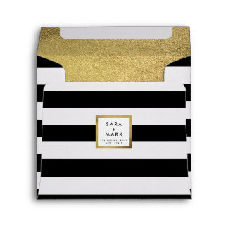 Black & White Stripes with Gold Foil Personalized Envelope