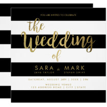 Black & White Stripes with Gold Foil Typography Invitation