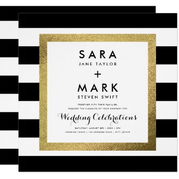 stripystripes Black & White Stripes with Gold Foil Wedding Card
