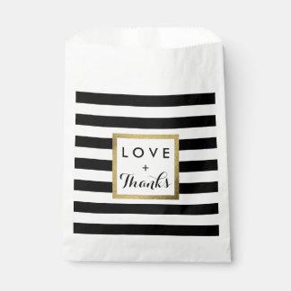 Black & White Stripes with Gold Foil Wedding Favor Bag