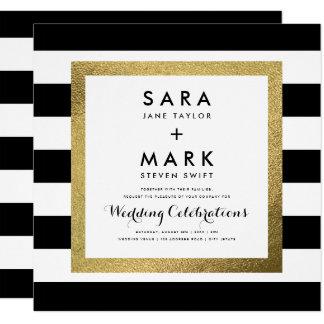 Black & White Stripes with Gold Foil Wedding Invitation