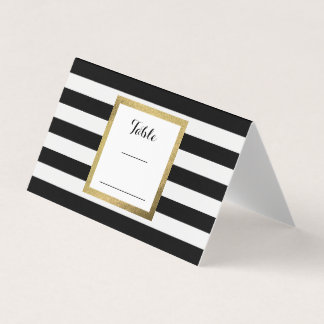 black u0026amp white stripes with gold foil wedding table place card