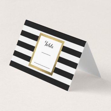 stripystripes Black & White Stripes with Gold Foil Wedding Table Place Card