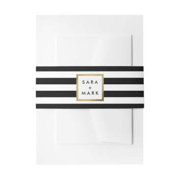 stripystripes Black & White Stripes with Gold Frame Label Custom Invitation Belly Band