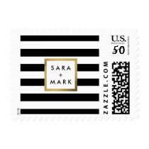 Black & White Stripes with Gold Frame Label Custom Postage
