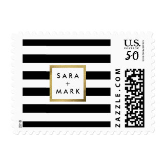 Black & White Stripes with Gold Frame Label Custom Postage