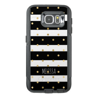 Black & White Stripes With Gold Polka-dots 2 OtterBox Samsung Galaxy S6 Case