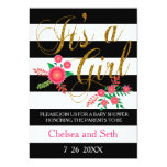 Black & White Stripes With Pink Floral Baby Girl 5x7 Paper Invitation Card
