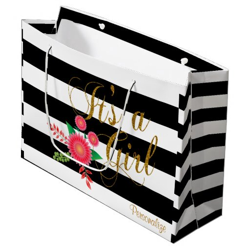 Black & White Stripes With Pink Flowers Baby Girl Large Gift Bag