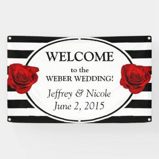 Black & White Stripes with Rose Wedding Banner
