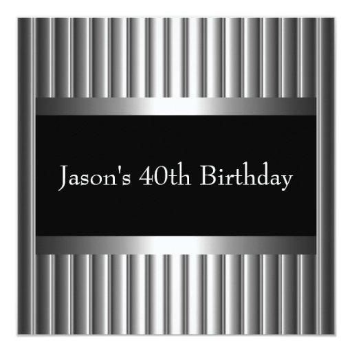 Black White Style Silver Mens 40th Personalized Invite