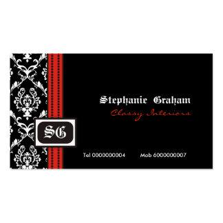 Black white stylish damask monogram business card