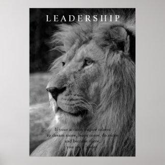 Black & White Stylish Motivational Leadership Lion Poster