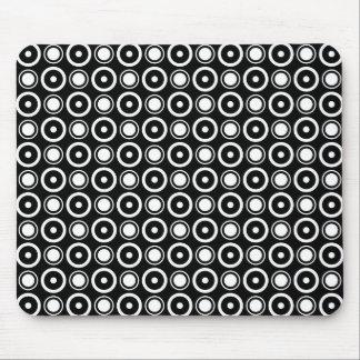Black White stylish polka dots black background Mouse Pad