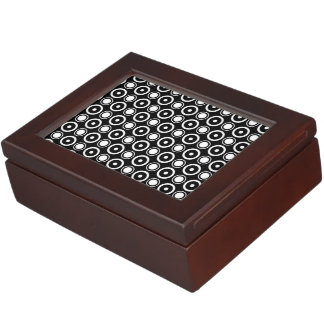 Black White stylish polka dots black background Memory Box