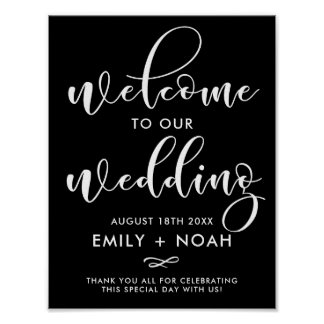 Black & White Stylish Script Welcome Wedding Sign
