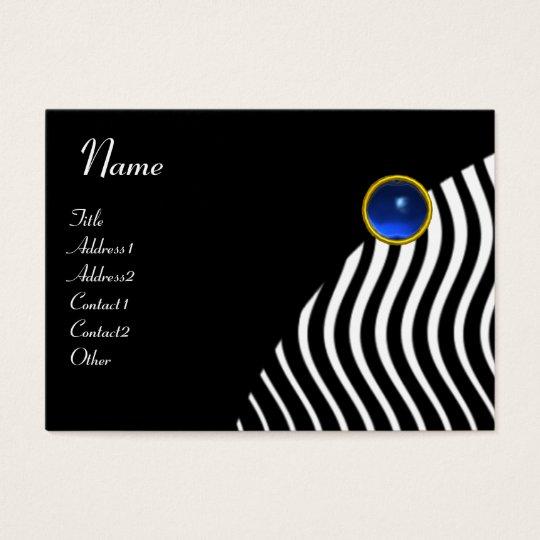 BLACK WHITE STYLISH WAVES,BLUE GEMSTONE MONOGRAM BUSINESS CARD