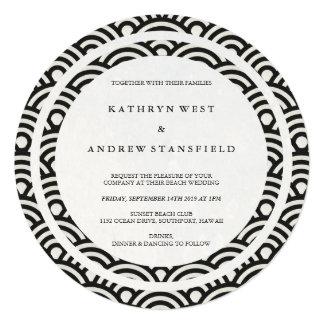 Black + White Stylized Waves Elegant Beach Wedding Card
